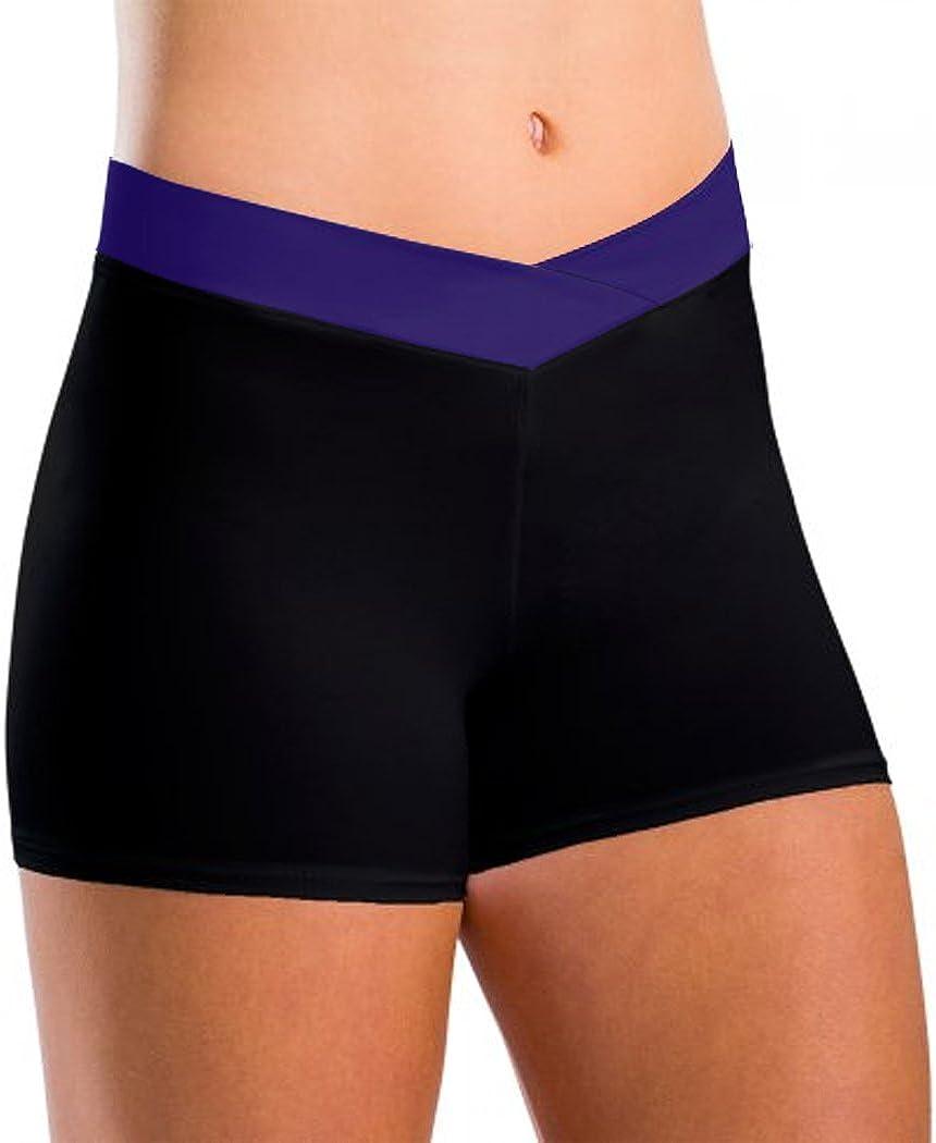 DanceNwear Little Girls V-Waist Spliced Style Dance Shorts Black//Purple