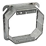 Thomas & Betts 52C53-1-1/2 Pre-Galvanized Steel 2-Gang Two Device Square-Cut Tile Wall Box Cover 4 Inch x 4 Inch x 1-1/2 Inch Steel City