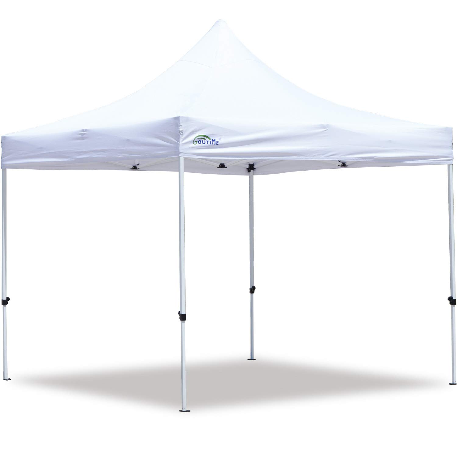 Goutime 10×10 Commercial Grade Pop Up Canopy Tents for Parties Trades Shows, Waterproof Ez Up Canopy with Wheeled Bag, White
