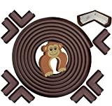 Corner Guards and Edge Bumpers - 5m/20ft [ 16.5ft Edge Cushion + 8 Corner Cushion] Furniture Bumpers & Corner Cover; Baby Proofing Edge Desk Table Protector; Fireplace Guards for Child Safety (Brown)
