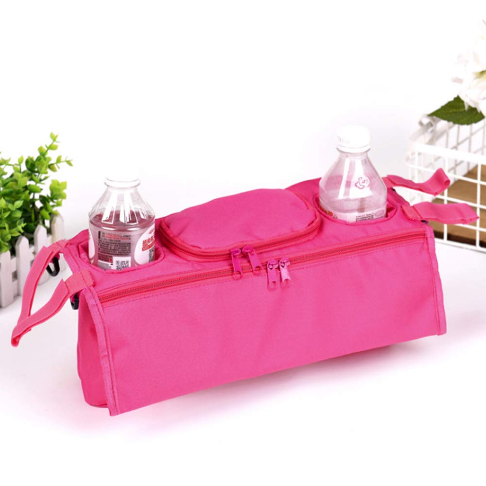Rocita Cochecito Organizador Cochecito de Beb/é Universal Bolsa de Almacenamiento Colgante Posterior Bolsillos M/últiples Bolsillos con Cremallera y Profundo rosa
