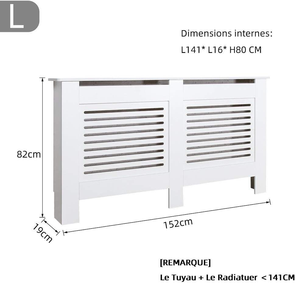 Blanc Mondeer Meuble de Rangement pour Salon Moderne Cache Radiateur Horizontal, 172x19x82cm Planche sans Peinture