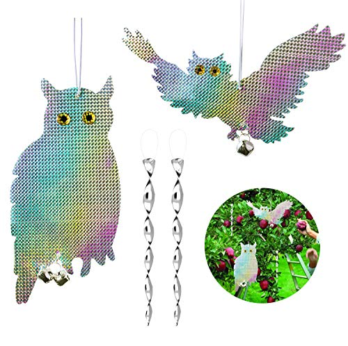 CandyHome 2 Pack Owl Bird Repellent Control Scare Device - Reflective Hanging Owl Woodpecker Deterrent with 2 Pack Spiral Bird Deterrent Rods