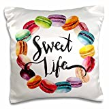 3D Rose Cute French Macaroon Cookies Wreath with Sweet Life Pillow Cases, 16'' x 16''