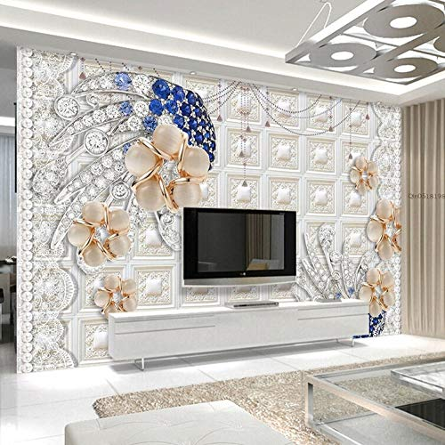 Concave Solid Wall Mural Jewelry Crystal Flower Tv Background Wall Paper-430300Cm