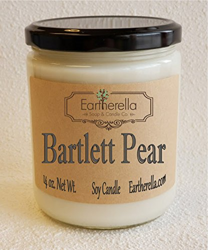 BARTLETT PEAR Natural Soy Wax 14 oz. Jar Candle, 90+ hours, fruit, fruity, sweet, clean (Soy Sweet Fruit)