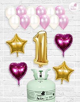 Bombona de Helio Mrhelio+Globos cumpleaños Niña números