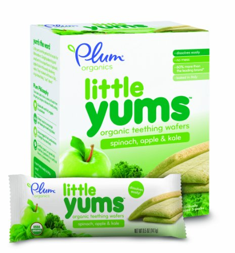 Plum Organics Baby Little Yums Teething Wafers, Spinach Apple & Kale, 3 oz