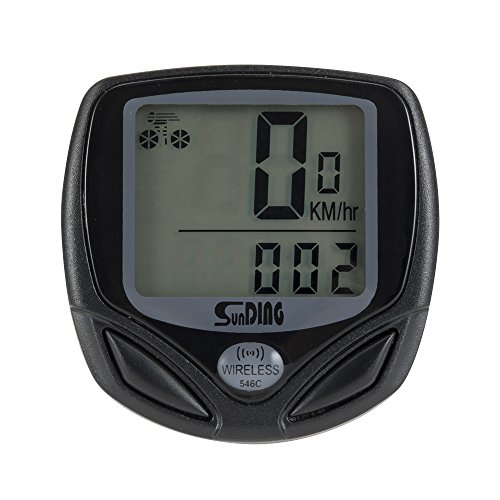 WOTOW Wireless Bike Computer, Large LCD Digital Display with Backlight Waterproof Bicycle Bike Speedometer Sensitive Data Statistics Recording Cycling Odometer Multi Function (Black)