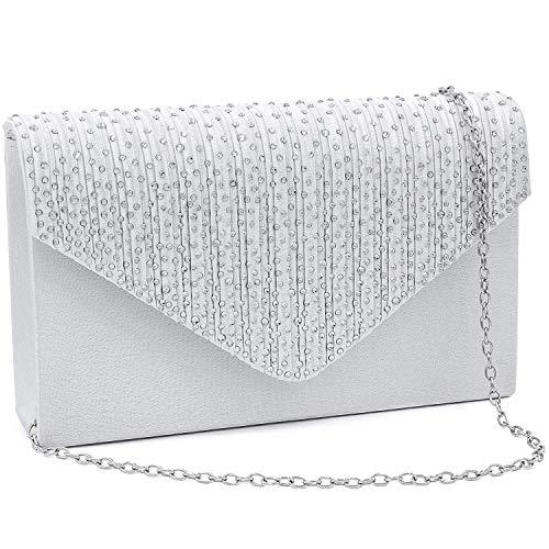 Milisente Evening Bag for Women, Glitter Rhinestone Wedding Evening Purse Crystal Envelope Crossbody Shoulder Clutch Bags (Silver)