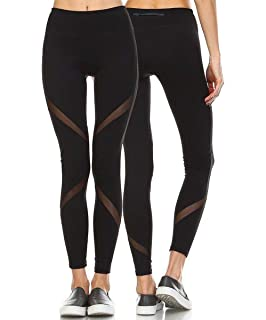 2d2cdd6946330 RIOJOY Women Yoga Leggings, Upgraded Mesh Patchwork Gym Workout Running  Tights, Stretchy Training Pants
