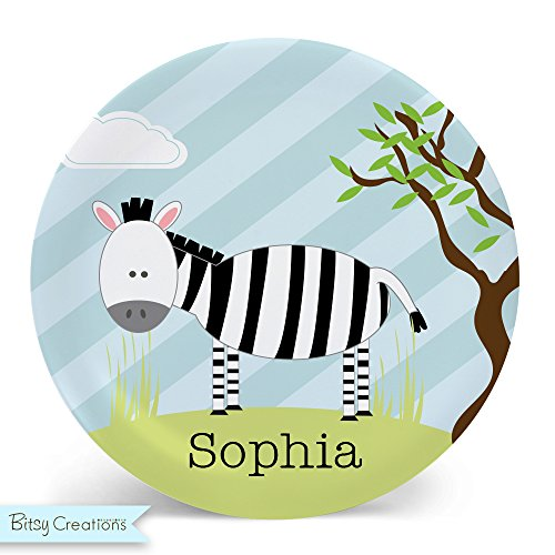 Zebra Plate - Melamine Bowl or Plate Custom Personalized with Childs Name by BitsyCreations