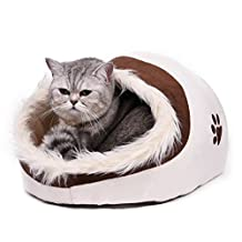 "PAWZ Road Cozy Cat Bed Pet Igloo with Removable Cushion for Kittens Cats and Small Dogs 15.7""Lx14.2""Wx9.8""H - Ultra Snuggly and Warm Cat House Beige"