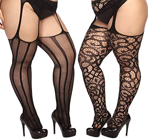 TGD Plus Size Stockings for Women Suspender Pantyhose Fishnet Tights Black 2 Pairs Thigh High Stocking (Fit US 8-16)(Black -
