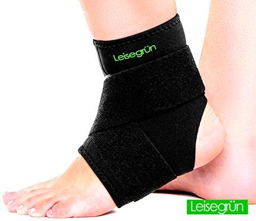 Leisegrün® Sprunggelenkbandage mit Klettverschluss, stützt den Fuß beim Sport wie Handball, Fußball, Volleyball - Fußgelenkbandage geeignet für Damen, Herren und Kinder - Größe L-XL