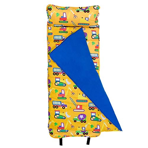 Wildkin Original Nap Mat, Features Built-In Blanket and Pillow, Perfect for Daycare and Preschool or Napping On-the-Go, Olive Kids Design – Under Construction