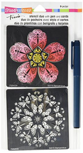 STAMPENDOUS FMSD103 Blossom Fran's Stencil Duo with Pen & Cards, Clear