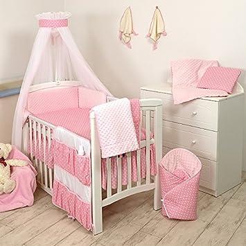 9tlg Babybettwäsche Set 135x100cm 120x60cm Rosa Weiß Amazonde