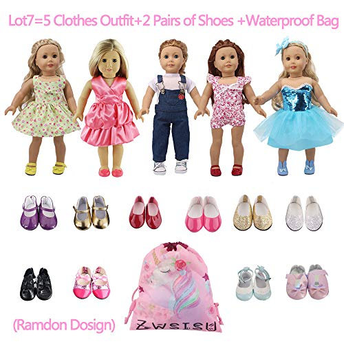 ZWSISU American 18 inch Girl Doll Outfits Lot 7 = 5 Princess Dress Clothes + 2 Ramdon Style Shoes for 18