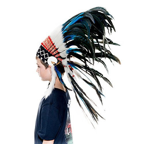 [Novum Crafts Kids Feather Headdress | Native American Indian Inspired | Blue] (Child Indian Headdress)