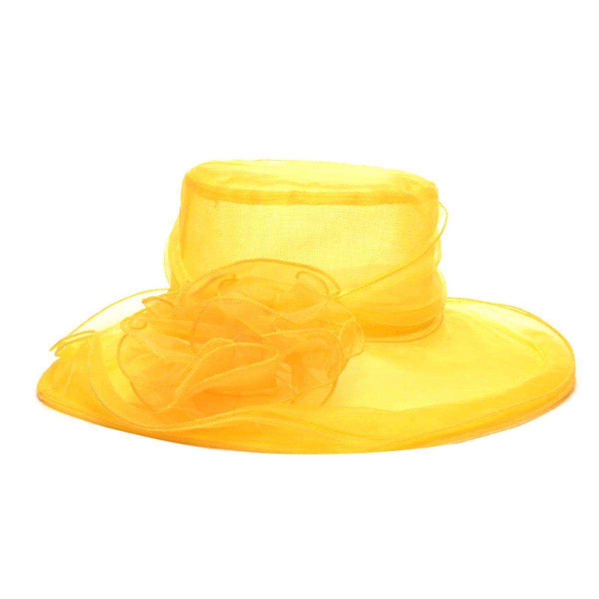 con Tocado de Flores para la Iglesia ZUMUii Sombreros Butterme de Mujer de tama/ño Grande de Kentucky Derby para el Sol ala Ancha y Tocado de Gasa Amarillo Amarillo