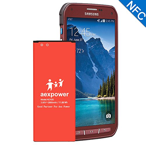 Galaxy S5 Active Battery, AexPower 2880mAh Replacement Li-Ion Battery for Samsung Galaxy S5 Active SM-G870 ( AT&T ) / Galaxy S5 Sport SM-G860 ( Sprint ) SmartPhone   S5 Spare Battery