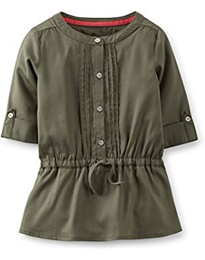 Baby Girls' Sateen 3/4 Sleeve Pintuck Tunic-18 Months
