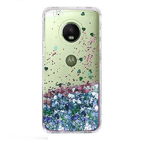 Moto E4 Case, Skmy Liquid Glitter Sparkle Girl Women Cute Clear TPU+Shockproof Hard PC Protective Case for Motorola Moto E4 (Blue) (Phone For Cases Girls Motorola)