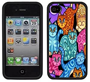 Colorful Cats Kittens Handmade iPhone 4 4S Black Case