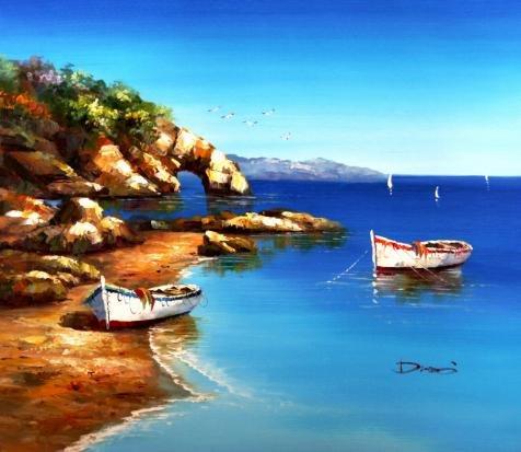 模造品装飾風景画のボート` Perfect効果キャンバスに油彩画、24x 28インチ/ 61x 70cm、印刷、この芸術装飾印刷は、リビングルームの装飾、ホームとギフトにピッタリの商品画像