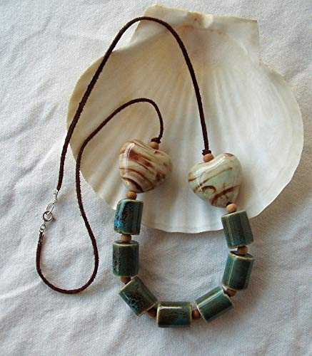 Blue Green Double Heart Porcelain Leather & Wood Necklace