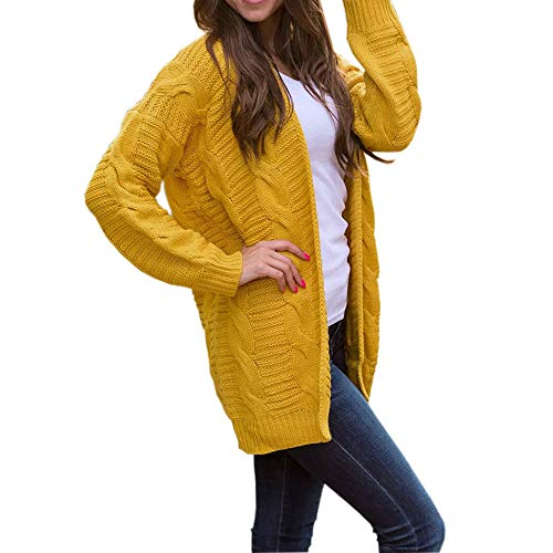 CUCUHAM Women's Long Sleeve Knitwear Open Front Cardigan Sweaters Casual Outerwear(Yellow,US:14/CN:2XL) by CUCUHAM