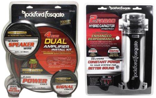 Install Car Stereo Capacitor (Package: Rockford Fosgate RFK4D 4/8 gauge dual amplifier install kit made of 100% pure crystal-oxygen free copper + Rockford Fosgate RFC2D RFC-2D 2 Farad Digital Car Power Capacitor)