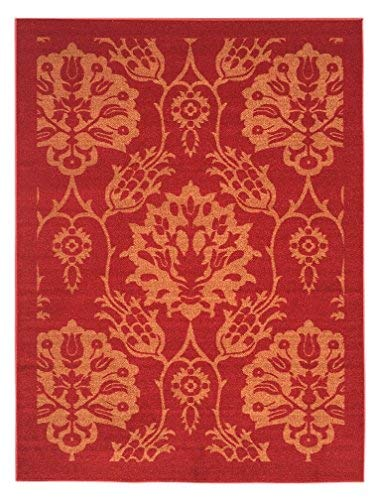 5-feet X 7-feet Non-Skid Rubber Backed Area Rug | RED - Gold Floral Modern Rectangle Rugs 5X7