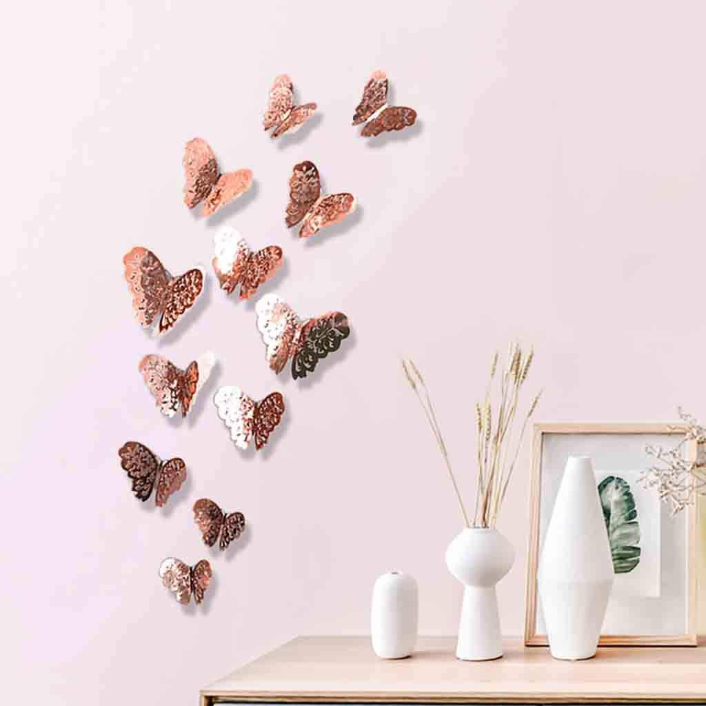 Couleurs :Rouge//Bleu//Jaune//Vert//Rose//Couleur Stickers Muraux, Amlaiworld 12Pcs Stickers Muraux 3D Papillons Papiers D/écoration pour d/écoration de Maison et de Pi/èce