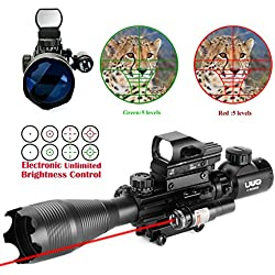 UUQ 4-16x50 Tactical Rifle Scope Red/Green Illuminated Range Finder Reticle W/ RED(GREEN) Laser and Multi Optical Coated Holographic Reflex Dot Sight (12 Month Warranty) (Red Laser W/ New Dot sight)