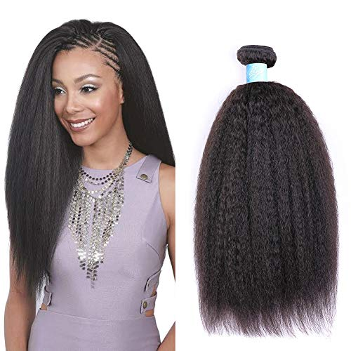 - BLY Mongolian Kinky Straight Virgin Human Hair 3 Bundles Weft Yaki Human Hair -8A Unprocessed Natural Black Hair Extensions Weave(12 14 16inches)