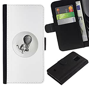 For Samsung Galaxy S5 Mini / Galaxy S5 Mini Duos / SM-G800 !!!NOT S5 REGULAR! ,S-type® Monkey Retro Black White Hot Air Balloon - Dibujo PU billetera de cuero Funda Case Caso de la piel de la bolsa protectora