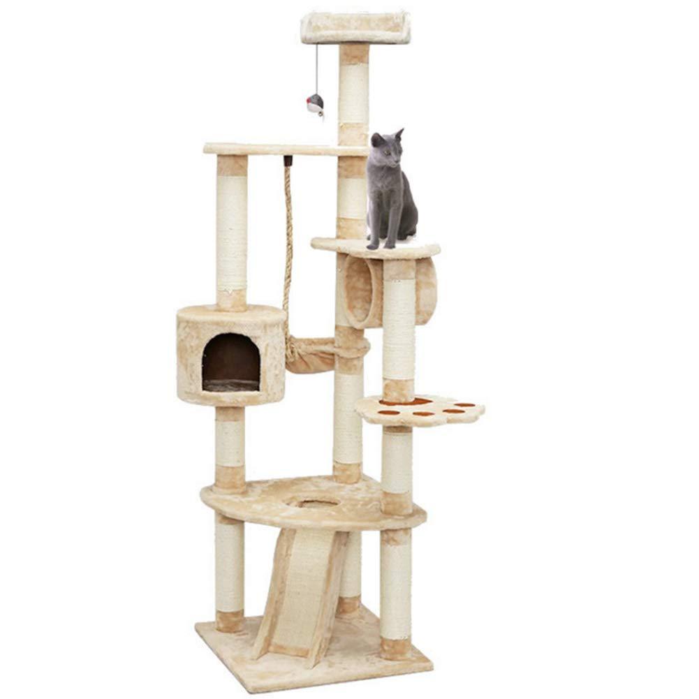 180CM Cat Entertainment Center Pet Furniture with Scratcher Pillar, Hammock, Apartment, Scratcher Slide, Hanging Ball Toy (Beige)