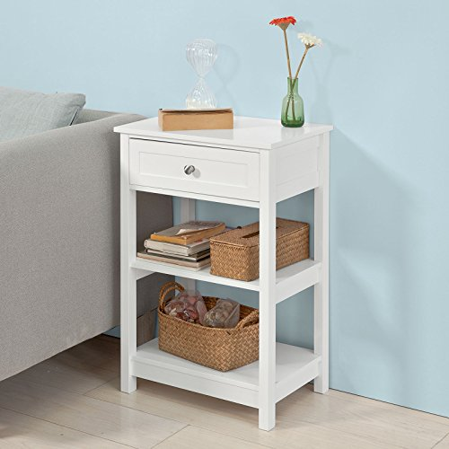 ide Table with 1 Drawers, Night Table Stand Lamp Table End Table Side Table, White ()