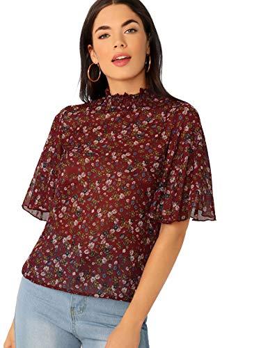 (Floerns Women's Floral Print High Neck Puff Long Sleeve Chiffon Blouse Burgundy S)