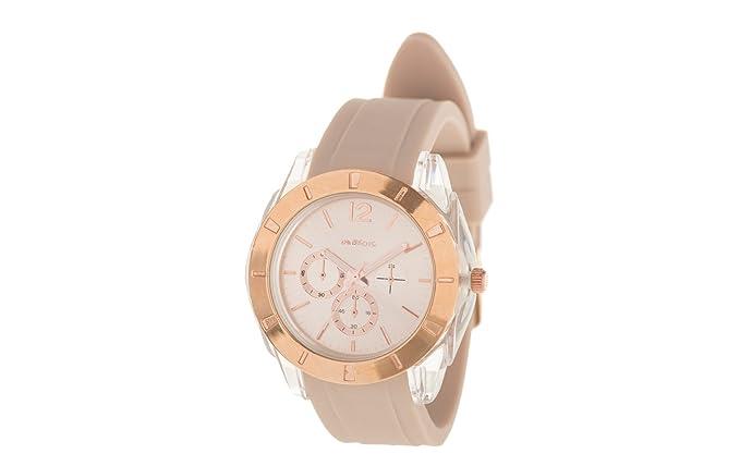 Parfois - Reloj Rubber Sporty - Mujeres - Tallas M - Beige: Amazon.es: Relojes