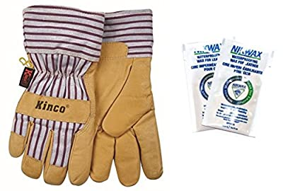 Kinco 1927-L-1 Premium grain pigskin palm, Trademarked OttoTM striped fabric back & cuff, Lined safety cuff, Heatkeep thermal lining, Size: L