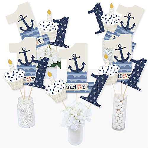 1st Birthday Ahoy - Nautical - First Birthday Party Centerpiece Sticks - Table Toppers - Set of -