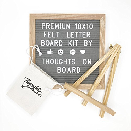 Wall Mount Frame Oak - Premium Grey Felt Letter Board Kit 10x10 inch, 340 Letters, Numbers & Emoji's. Message Board Sign, Wall Mount, Oak Wood Frame, with Display Stand Canvas Bag & Pair of Scissors - by Thoughts On Board