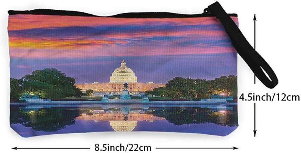 Retro Money Bag American,US Congress Building Lake,Women Wallet Change Pouch