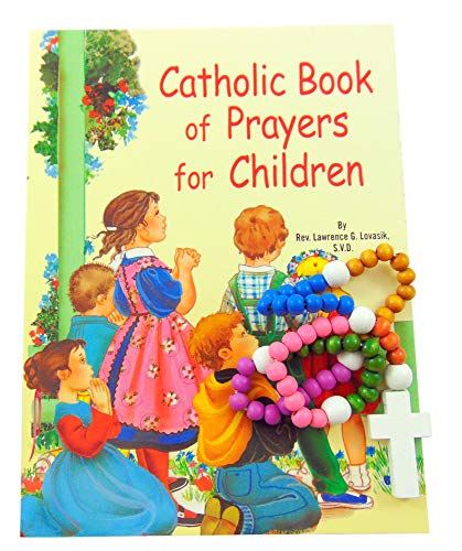 Baptism Set First Rosary and Catholic Book of Prayers for Children and Gift Bag