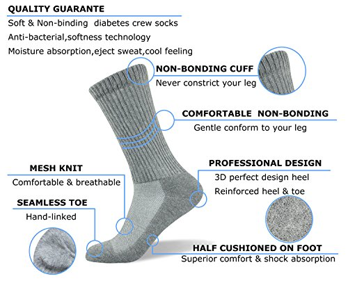 Well-Knitting-Mens-4-Pack-Non-Binding-Diabetes-and-Circulatory-Crew-Socks-L-Grey