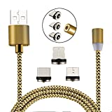 magnetic charging cable volta Charger Cable Magnetic Lightning Type C Micro 3 in 1 usb 2.1A Quick Charging Cable for iPhone Charge Cable with magnet for 3 port magnetic charging cable wire (Golden)