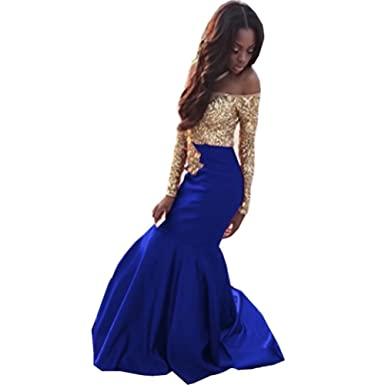 e7cc65d064c9 Ladsen Gold Lace Appplique Prom Dresses Long Sleeves Prom Ball Gown. Royal  Blue Prom Dresses With Sleeves Naf Dresses